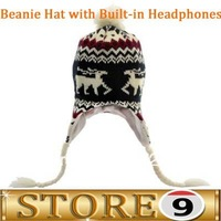 GIFT for Girl Bobble Beanie Hat with Braided Earflaps and Built-in Headphones (Kids/Women Fit)
