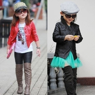 Hot selling trendy slim long-sleeve girl's leather clothing short design children's motorcycle leather jacket kids PU coat(China (Mainland))