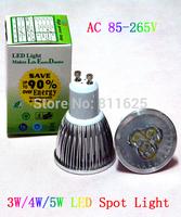 10PCS/lot  AC85~265V 3W 4W 5W GU10 White/Warm white LED Bulb Light Spot Light LED Light Lamp