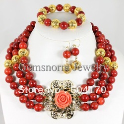 Amazing! Charming Rare Red Sponge Coral Jewelry Set 12MM Red Coral Beads Fashion Gold Findings Wedding Jewelry Set CNR125(China (Mainland))