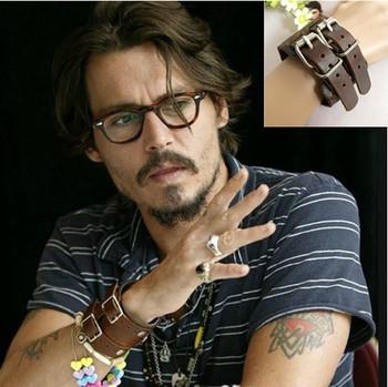 Модный Jewelry Натуральная кожа Punk bracelet Wristband belt buckle..Johnny Depp ...