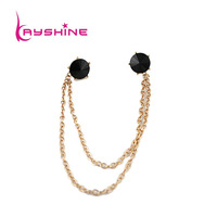 New Coming Fashion Design Delicate Lovely Big Black Imitation Rhinestone  Gold Chain Alloy  Tie Clip Necklace Jewelry