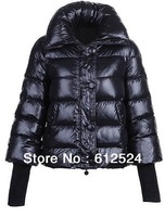 2013 new design hot fashion short down leather black women's down coat with narrow wristband free shipping