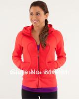 lulu hoodies scuba Lady Sport  Athletic Jacket yoga wear coat Women's hoodies fashionable popular orange color clothing