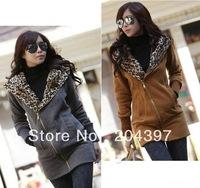New Women's Fashion Zipper Leopard Hooded Jacket Women's Hoodie Coat Sweatshirt Jacket Warm Outerwear