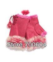 Hot sale! fashion Winter Warm Women's imitation Rabbit hair sleeves gloves & mittens, free shipping