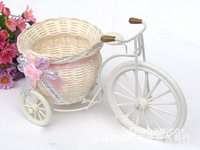 Free Shipping,Furnishings fun quality rattan tricycle bandwagon vase meters receiver  flower set home decoration