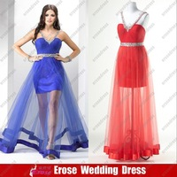 Stock Floor Length Red/Royal Blue Tulle V-Neck Evening Bridesmaid Gown Dress