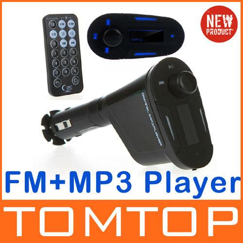 Multifunctional Car Kit Wireless FM Transmitter Modulator MP3 Player USB SD Blue + USB 2.0 Port Remote Control(China (Mainland))