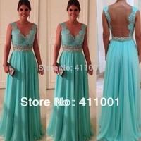 Real Photos 2014 HerbBLUE Chiffon Lace Long A-Line Evening Dress Bridal Party Gown XS S M L XL 2XL 3XL 4XL