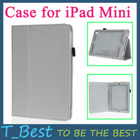 New Arrival Protective PU Leather Magnetic Smart Cover Skin Case for iPad Mini Gray Color,Free Shipping + Drop Shipping