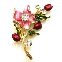 Hot Sale Fashion Bling Brooch Rhinestone Inlay Gold Plated Zinc Alloy Lilac Flower for Wedding or Party Free Random Shipping