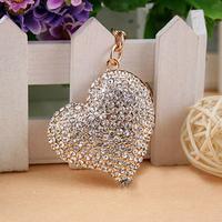 Christmas Gift, Full Rhinestone,White Crystal Heart Shape Keychain Alloy Keyring handBag Charm Real Gold Plated,Best Present
