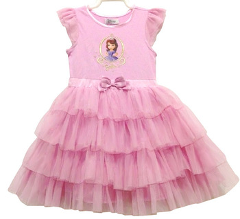 2014 new children clothing 5pcs/lot girls dresses for summer cake dress cartoon princess dress,free shipping