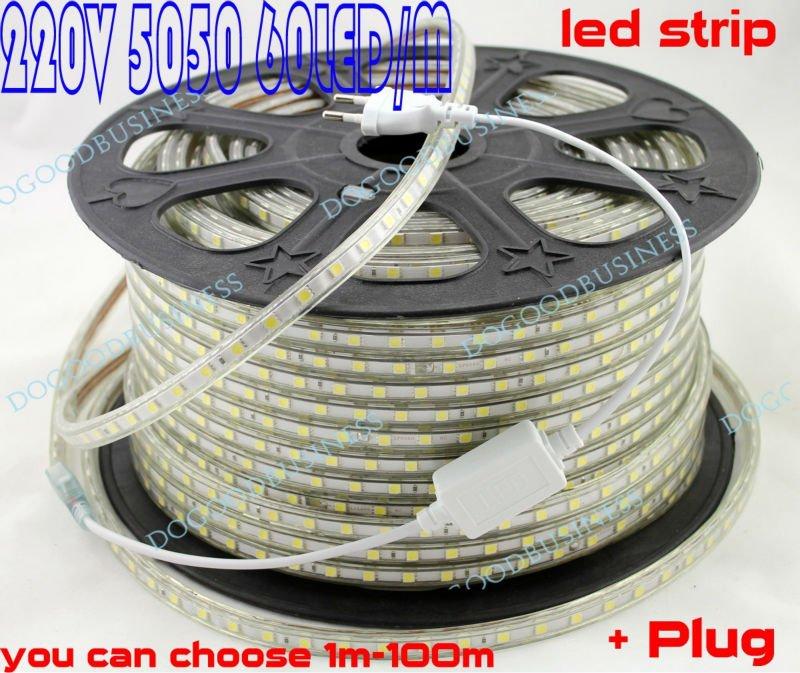 FREE SHIPPING +5M 220V High voltage 5050 led flexible strip light+Power plug,warm white/white,60leds/m,14.8w/m,waterproof IP65(China (Mainland))
