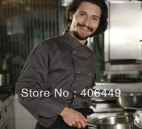 2014 NEW High quality Gray Long-sleeved Thick chef uniforms,Men and women wear Cook Tops Jackets  D36