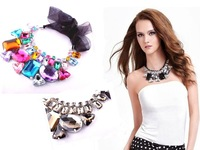Hot sale Collar Necklace,Fashion Chokers with Hi-Q acrylic and ribbon, mix black and clear gemstones