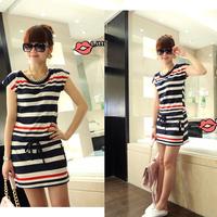 2015 New Summer Dress Women Girl Vestidos Cap Sleeve O-Neck Cotton Striped Casual Dress Novelty Tunic Mini SML Free Shipping 447