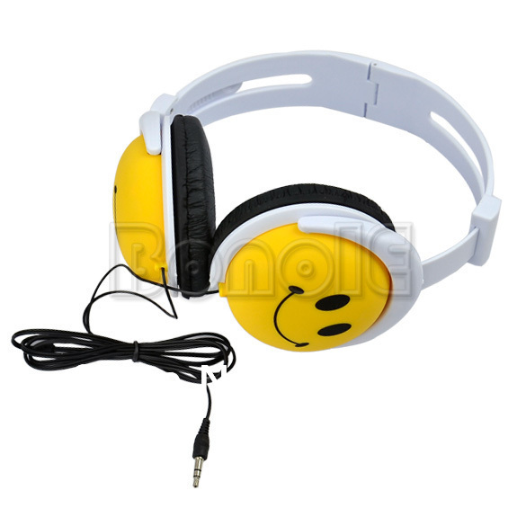 New Fashion And Cute Style Smile Face Headphone Earphones Headset For Computer MP3 PSP DJ Free Shipping 6516(China (Mainland))