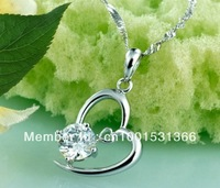 Wholesale - Heart to have you heart the corresponding zircon pendant 925 silver pendant Free Shipping