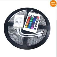 Free shipping Led Strip Waterproof 5M RGB SMD 5050 300 LEDs/Roll + 24 keys IR Remote Controller new year decoration 10pcs/lot