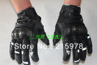 HOTGenuine Leather Full Finger Motorcycle Gloves Windproof And Breathable Black