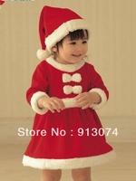 free shipping 1set kids christmas skirt polar fleece fabric style romper jumpsuit hat romper Santa Claus girl dress suit 6m-2yrs