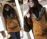 Free shipping Winter 3 Colors Brown Gray Black Warm Women Leopard Hooded Zipper Pocket Section Sweater Long Outerwear Coat S M