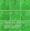 2012 Wholesale free shipping 100pcs Blank Acrylic Keychains Insert Photo plastic Keyrings Square Key Rectangle heart circular