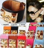 Punk faux leather studs spike bracelet  bangle wristband charm pyramid rock cuff  free shipping 8pcs/lot