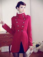 Elegance Women Double Breasted Slim Wool Blends Jacket Coats,Hot Selling Fashion Plus Size Women's Clothing