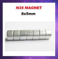 500pcs/lot  N35 D8X5 Columns Ndfeb strong magnetic magnet