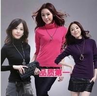 Free Shipping 2014 Korean autumn, winter Fashion Women Slim shirt high collar bottoming shirt  long-sleeved T-shirt
