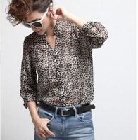Fashion women  leopard point long sleeve is prevented bask in chiffon long shirts,women tops
