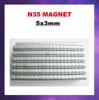 Free shipping 1000pcs/lot N35 D5X3mm Columns Ndfeb strong magnetic magnet