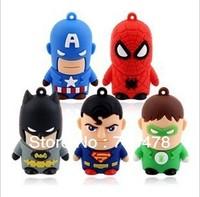 CC14 Wholesale Cartoon Cute Avengers Superman/Green Lantern/Spider-Man/Batman Model 4GB 8GB USB 2.0 Flash Pen Drive Memory stick