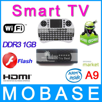 Smart TV MK808 Google Android 4.1 Mini PC RK3066 1.6GHz Dual Core 1GB/8GB WiFi HDMI Online TV Box (Free UKB-500 Game Air Mouse)