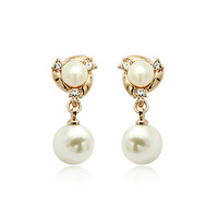 Fashion 18K Rose Gold Plated Beautiful Twin Long Pearl Drop Earrings Wholesale FREE SHIPPING!