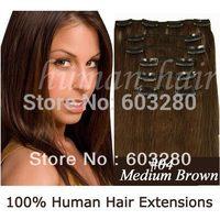 """15""""18""""20""""22""""24""""26""""28"""" Natural Brazilian Human Hair Clips in hair Extension #4 medium brown colour 160gram/set"""