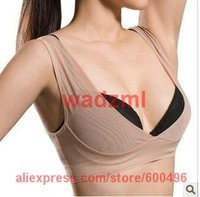 Free shipping 1pc size S M  L beige and black color Weight Management For Underscore Breast Push Up Body Shaper Bra