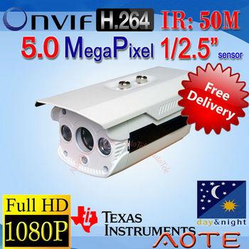 Free Shipping!!! CCTV Network 5.0 Megapixel IP Camera HD 1080P Outdoor/Waterproof ONVIF Night Vision P2P Motion Detection Alarm