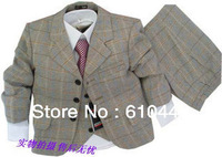 2012 autumn and winter male child children's clothing fashion casual plaid suit triangle set formal dress child set