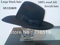 Low discounts sale the black  jewish hats 100% rabbit felt with one plastic bags and one small box and white lining