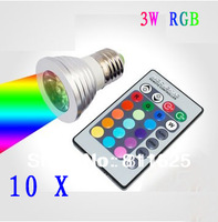 Free shipping 5pcs/lot  E27 3W RGB LED spot down ceiling light bulb 16 colors + remote control 100~240V