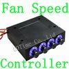 Free Shipping (1 piece) New LED 4 Channel PC CPU VGA HDD Fan Speed Controller Reduce Noise
