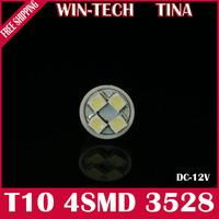 Free Shipping 10pcs T10 194 168 192 White/Blue Color 4 SMD 3528 LED car light bulb
