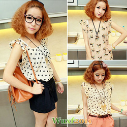 New Fashion Women&#39;s Clothing Short Sleeve Animal Prints Casual Summer Chiffon Shirt Blouse Tops Size S Free Shipping 0570(China (Mainland))