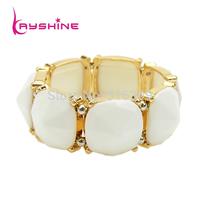 Pulseiras Fashion Bracelets Bangles for Women Elastic White Geometric Created Gemstone Bangles
