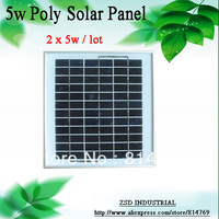 Promotion pv solar cell panel 10w poly crystalline solar module kits 5w x 2pcs charge for 12v battery to supply power