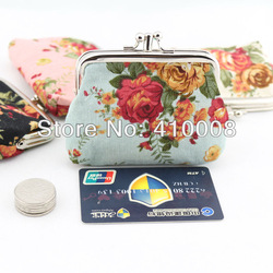 Free shipping lovely flower Lovely flower print canvas material button Coin Purses 4colour 12X9cm lovely coin bag(China (Mainland))